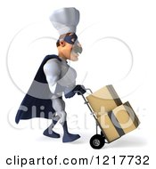 Clipart Of A 3d Super Chef Moving Boxes On A Dolly 2 Royalty Free Illustration