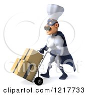 Clipart Of A 3d Super Chef Moving Boxes On A Dolly Royalty Free Illustration