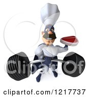 Clipart Of A 3d Super Chef Holding A Steak And Barbell Royalty Free Illustration