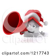Clipart Of A 3d Christmas White House Using A Megaphone Royalty Free Illustration