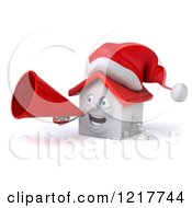 Clipart Of A 3d Christmas White House Using A Megaphone 2 Royalty Free Illustration