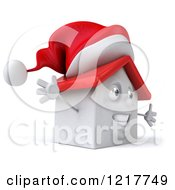 Clipart Of A 3d Christmas White House With Open Arms Royalty Free Illustration