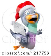 Clipart Of A 3d Christmas Pigeon Mascot Flying With An Envelope Royalty Free Illustration