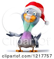 Clipart Of A 3d Christmas Pigeon Mascot Presenting Royalty Free Illustration