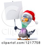Clipart Of A 3d Christmas Pigeon Mascot Holding A Sign Royalty Free Illustration
