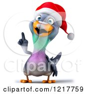 Clipart Of A 3d Christmas Pigeon Mascot Pointing Up Royalty Free Illustration