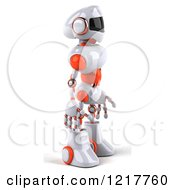 Clipart Of A 3d White And Orange Male Techno Robot Facing Right Royalty Free Illustration