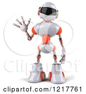Clipart Of A 3d White And Orange Male Techno Robot Waving Royalty Free Illustration