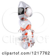 Clipart Of A 3d White And Orange Male Techno Robot Facing Left Royalty Free Illustration