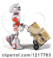 Clipart Of A 3d White And Orange Male Techno Robot Moving Boxes On A Dolly Royalty Free Illustration