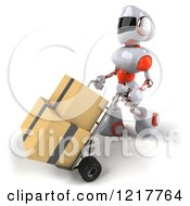 Clipart Of A 3d White And Orange Male Techno Robot Pushing Boxes On A Dolly Royalty Free Illustration