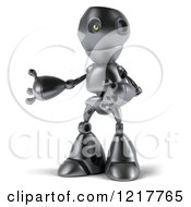 Clipart Of A 3d Silver Robot Mascot Facing Left And Presenting Royalty Free Illustration