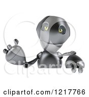 Clipart Of A 3d Silver Robot Mascot Waving Over A Sign Royalty Free Illustration