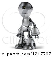 Clipart Of A 3d Silver Robot Mascot Facing Left Royalty Free Illustration