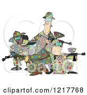 Clipart Of A Paintball Team Covered In Colorful Splats Royalty Free Illustration by djart