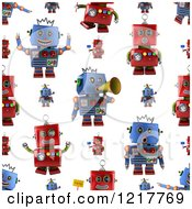 Seamless Background Of Red And Blue Vintage Robots On White
