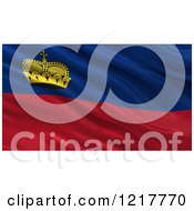 Clipart Of A 3d Waving Flag Of Liechtenstein With Rippled Fabric Royalty Free Illustration