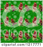 Clipart Of A Seamless Background Of Vintage Robots On Green With Snowflakes Royalty Free Illustration