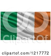 Clipart Of A 3d Waving Flag Of Ireland With Rippled Fabric Royalty Free Illustration