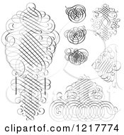 Clipart Of Black And White Ornate Swirls Royalty Free Vector Illustration