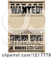 Clipart Of A Reward Wanted Distressed Sign With Text Space Royalty Free Vector Illustration