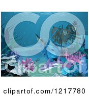 Clipart Of A Shark Swimming Around A Sunken Pirate Ship At A Reef Royalty Free Vector Illustration