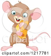 Clipart Of A Cute Baby Mouse Hugging Cheese Royalty Free Vector Illustration by Pushkin