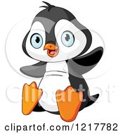Clipart Of A Cute Baby Penguin Holding Up His Wings Royalty Free Vector Illustration