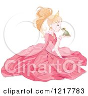 Clipart Of A Princess Kissing A Frog Prince Royalty Free Vector Illustration by Pushkin