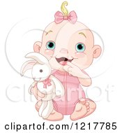 Clipart Of A Cute Happy Baby Girl Holding A Stuffed Bunny Rabbit Royalty Free Vector Illustration