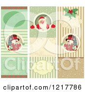 Clipart Of Vertical Retro Snowman And Santa Christmas Backgrounds Royalty Free Vector Illustration by Pushkin