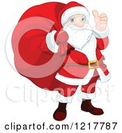 Clipart Of A Happy Santa Holding A Thumb Up And Sack On His Back Royalty Free Vector Illustration