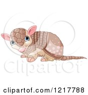 Clipart Of A Cute Baby Armadillo Royalty Free Vector Illustration by Pushkin