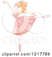 Clipart Of A Beautiful Graceful Blond Ballerina On Her Toes Royalty Free Vector Illustration by Pushkin