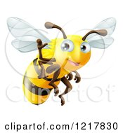 Clipart Of A Cute Bee Waving And Flying Royalty Free Vector Illustration by AtStockIllustration