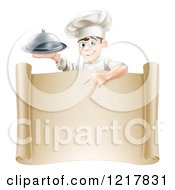 Clipart Of A Happy Young Male Chef Holding A Cloche And Pointing Down At A Scroll Royalty Free Vector Illustration