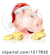Christmas Piggy Bank Wearing A Santa Hat Over Gold Coins