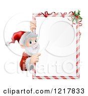 Santa Pointing To A Candy Cane Frame Sign