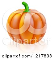 Clipart Of A Perfect Pumpkin And Reflection Royalty Free Vector Illustration by AtStockIllustration