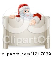 Santa Pointing Down To A Scroll Sign