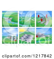Clipart Of Power And Energy Generation Plants And Landscapes Royalty Free Vector Illustration