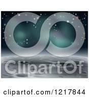 Clipart Of A Cratered Moon Landscape With Stars Royalty Free Vector Illustration