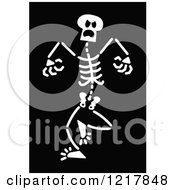 Clipart Of A White Angry Skeleton On Black Royalty Free Vector Illustration by Zooco