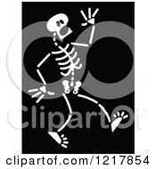 Clipart Of A White Scared Skeleton On Black Royalty Free Vector Illustration by Zooco