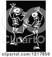 Clipart Of White Dancing Skeletons On Black Royalty Free Vector Illustration by Zooco
