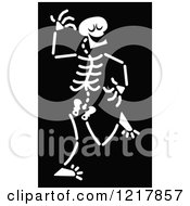 Clipart Of A White Dancing Skeleton On Black Royalty Free Vector Illustration