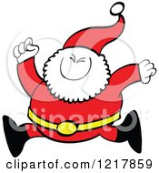 Clipart Of Santa Claus Running Royalty Free Vector Illustration by Zooco
