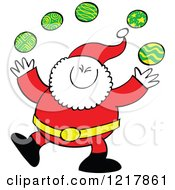 Clipart Of Santa Claus Juggling Christmas Baubles Royalty Free Vector Illustration by Zooco