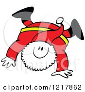 Clipart Of Santa Claus Doing A Hand Stand Royalty Free Vector Illustration by Zooco