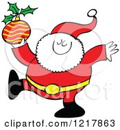 Clipart Of Santa Claus Holding A Christmas Bauble Royalty Free Vector Illustration